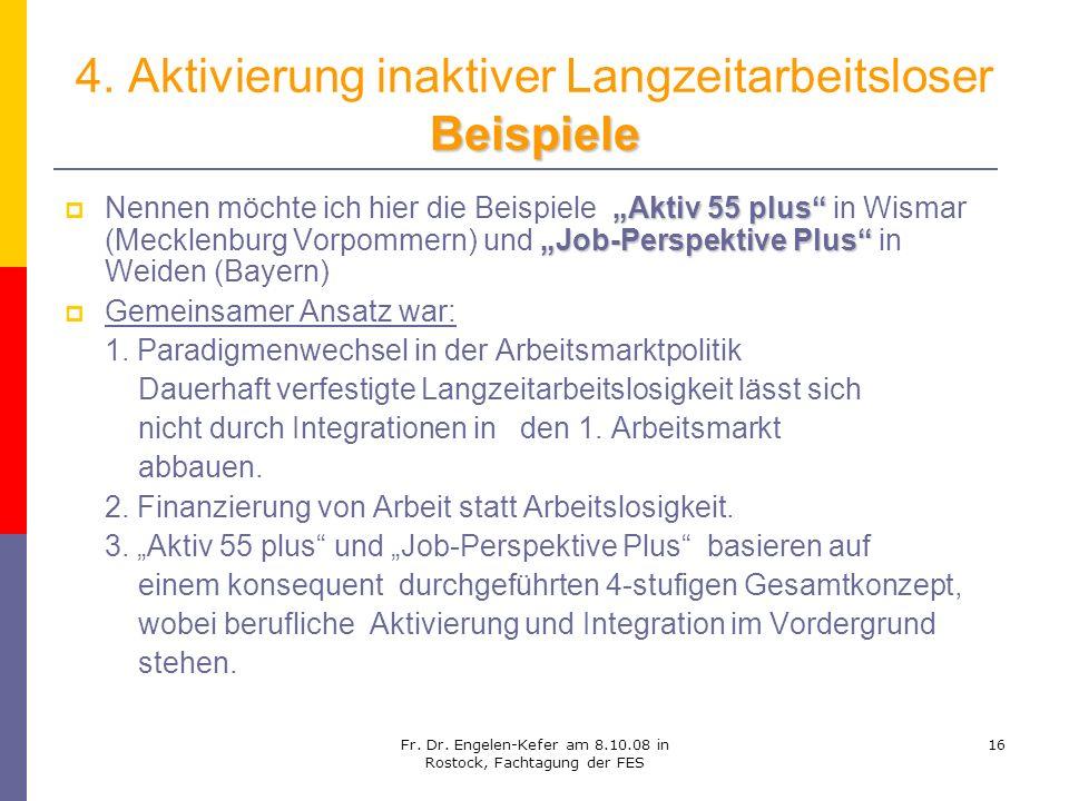 Fr. Dr. Engelen-Kefer am 8.10.08 in Rostock, Fachtagung der FES 16 Beispiele 4. Aktivierung inaktiver Langzeitarbeitsloser Beispiele Aktiv 55 plus Job
