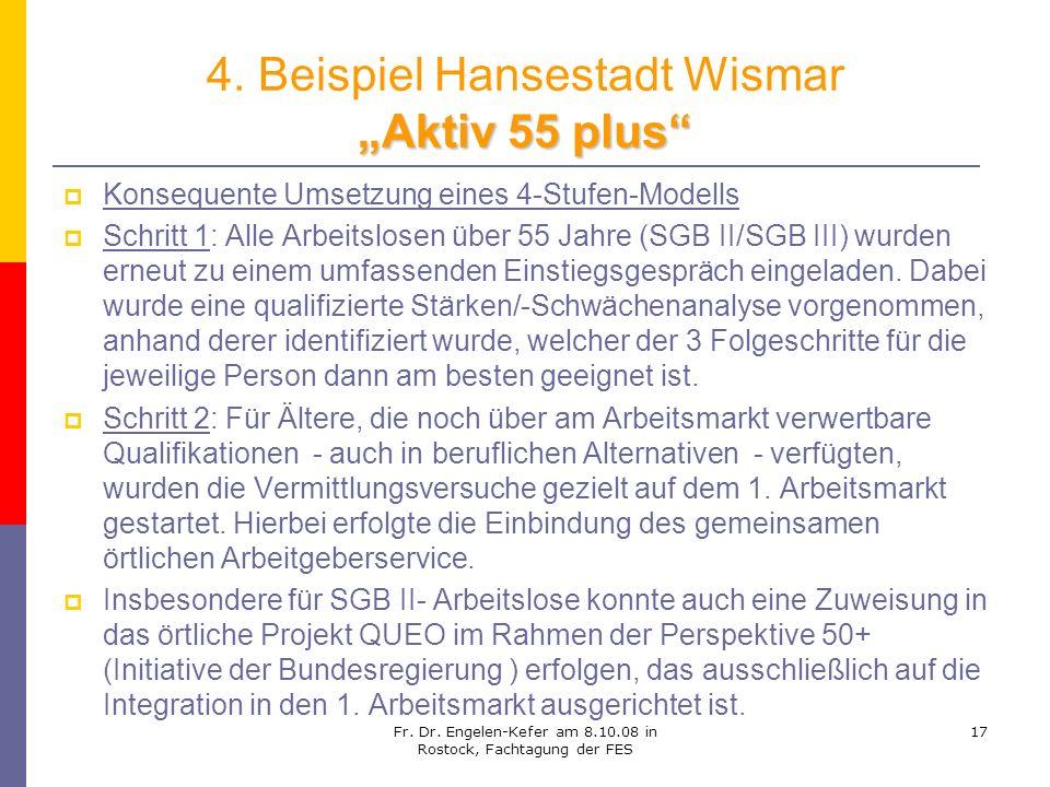 Fr. Dr. Engelen-Kefer am 8.10.08 in Rostock, Fachtagung der FES 17 Aktiv 55 plus 4. Beispiel Hansestadt Wismar Aktiv 55 plus Konsequente Umsetzung ein
