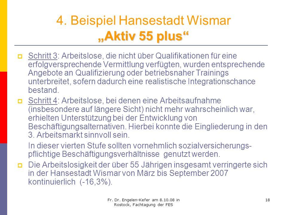 Fr. Dr. Engelen-Kefer am 8.10.08 in Rostock, Fachtagung der FES 18 Aktiv 55 plus 4. Beispiel Hansestadt Wismar Aktiv 55 plus Schritt 3: Arbeitslose, d