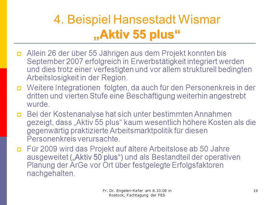 Fr. Dr. Engelen-Kefer am 8.10.08 in Rostock, Fachtagung der FES 19 Aktiv 55 plus 4. Beispiel Hansestadt Wismar Aktiv 55 plus Allein 26 der über 55 Jäh