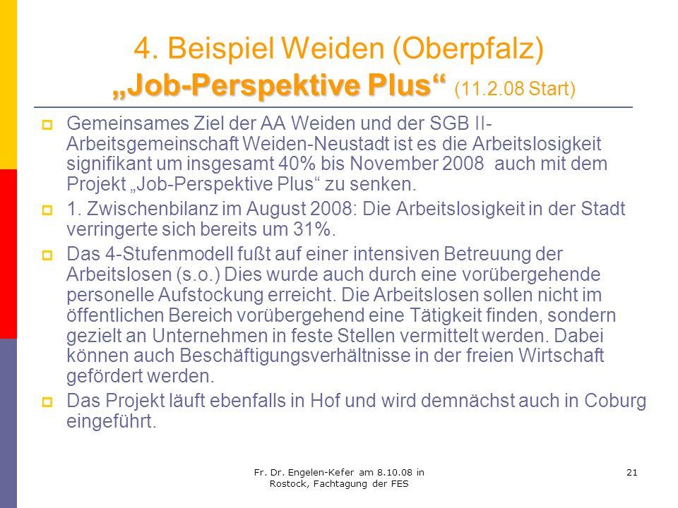 Fr. Dr. Engelen-Kefer am 8.10.08 in Rostock, Fachtagung der FES 21 Job-Perspektive Plus 4. Beispiel Weiden (Oberpfalz) Job-Perspektive Plus (11.2.08 S