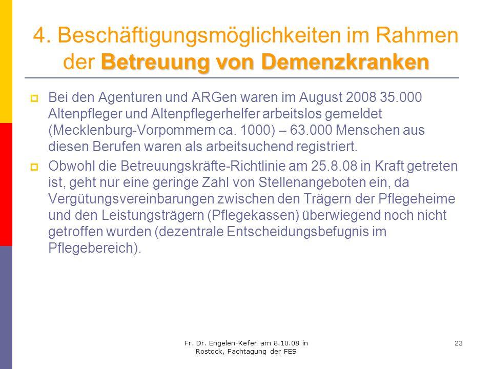 Fr. Dr. Engelen-Kefer am 8.10.08 in Rostock, Fachtagung der FES 23 Betreuung von Demenzkranken 4. Beschäftigungsmöglichkeiten im Rahmen der Betreuung
