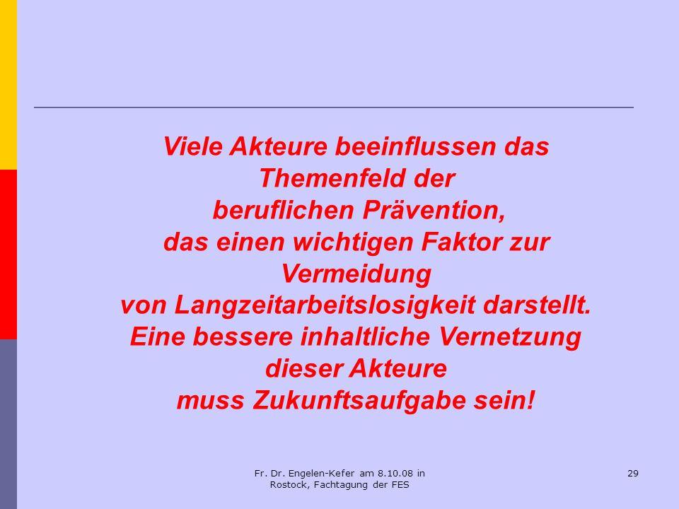 Fr. Dr. Engelen-Kefer am 8.10.08 in Rostock, Fachtagung der FES 29 Viele Akteure beeinflussen das Themenfeld der beruflichen Prävention, das einen wic