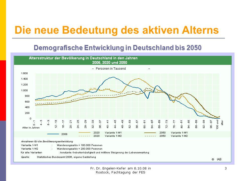 Fr. Dr. Engelen-Kefer am 8.10.08 in Rostock, Fachtagung der FES 3 Die neue Bedeutung des aktiven Alterns Demografische Entwicklung in Deutschland bis