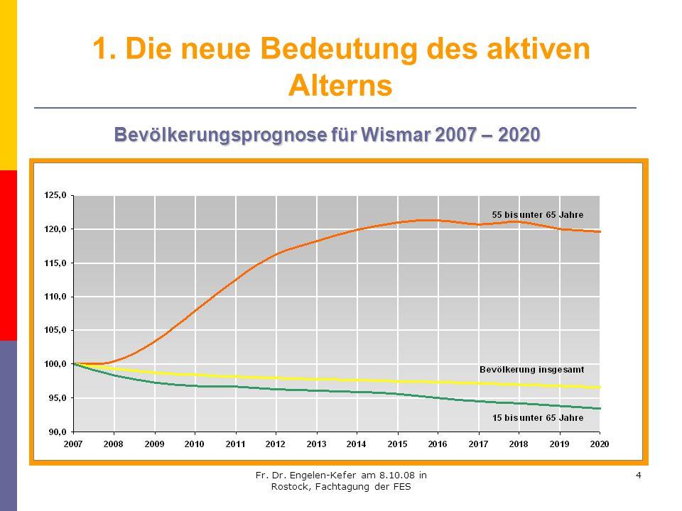Fr. Dr. Engelen-Kefer am 8.10.08 in Rostock, Fachtagung der FES 4 1. Die neue Bedeutung des aktiven Alterns Bevölkerungsprognose für Wismar 2007 – 202