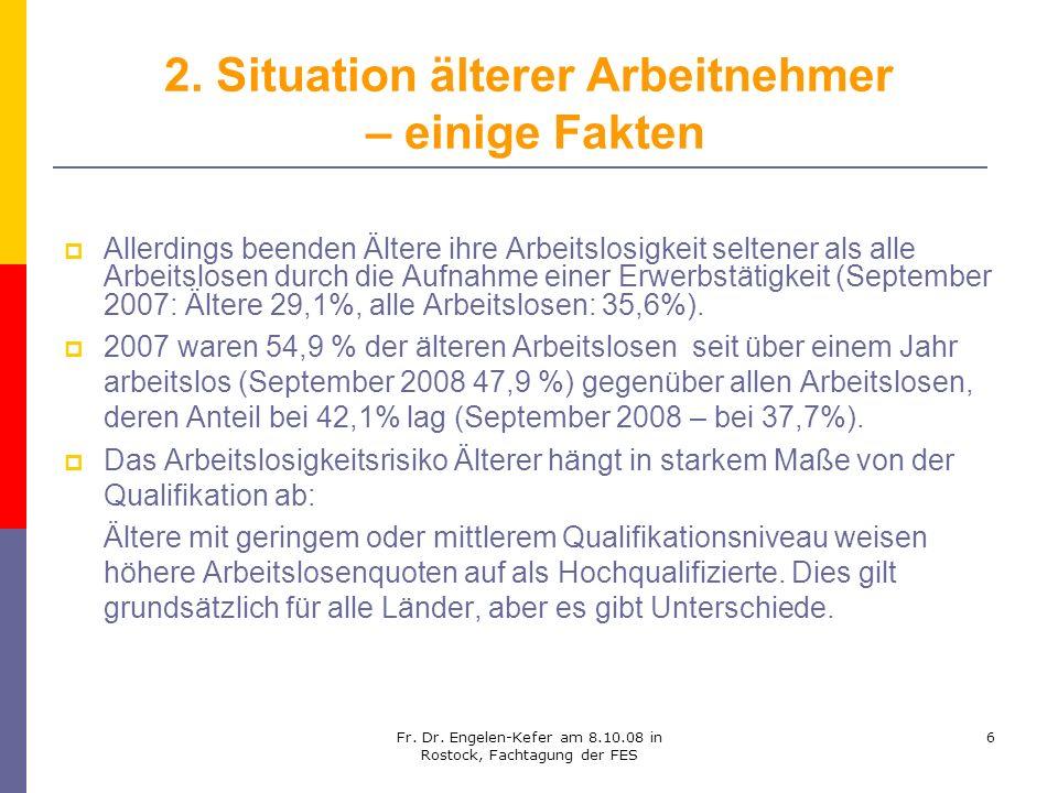 Fr. Dr. Engelen-Kefer am 8.10.08 in Rostock, Fachtagung der FES 6 2. Situation älterer Arbeitnehmer – einige Fakten Allerdings beenden Ältere ihre Arb