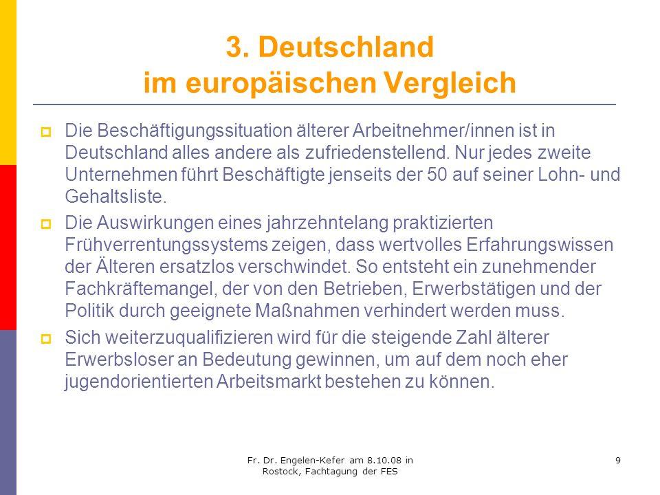 Fr. Dr. Engelen-Kefer am 8.10.08 in Rostock, Fachtagung der FES 9 3. Deutschland im europäischen Vergleich Die Beschäftigungssituation älterer Arbeitn
