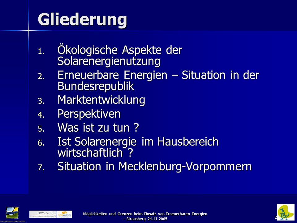 2 Möglichkeiten und Grenzen beim Einsatz von Erneuerbaren Energien – Strausberg 24.11.2005 Gliederung 1. Ökologische Aspekte der Solarenergienutzung 2