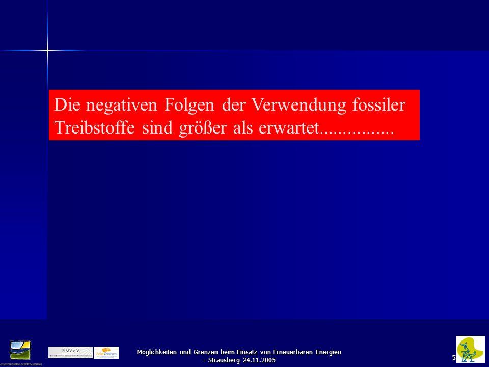 5 Möglichkeiten und Grenzen beim Einsatz von Erneuerbaren Energien – Strausberg 24.11.2005 Die negativen Folgen der Verwendung fossiler Treibstoffe si