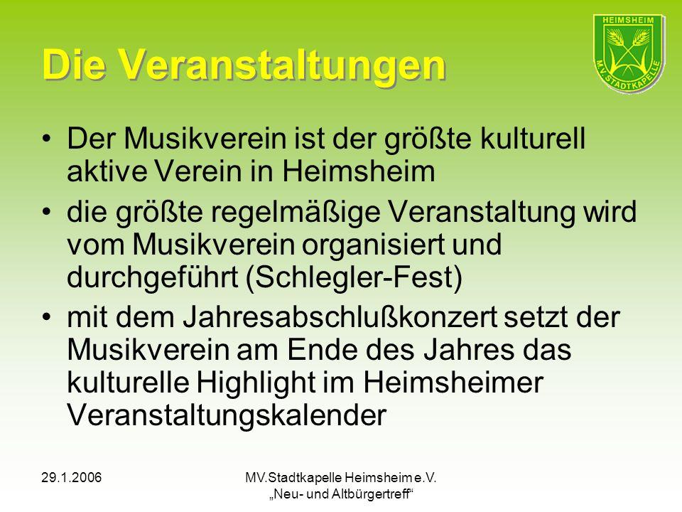29.1.2006MV.Stadtkapelle Heimsheim e.V. Neu- und Altbürgertreff Die Veranstaltungen Der Musikverein ist der größte kulturell aktive Verein in Heimshei