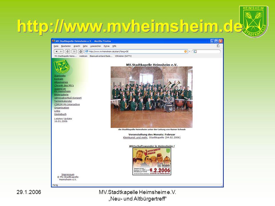 29.1.2006MV.Stadtkapelle Heimsheim e.V. Neu- und Altbürgertreff http://www.mvheimsheim.de