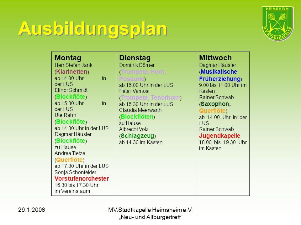 29.1.2006MV.Stadtkapelle Heimsheim e.V. Neu- und Altbürgertreff Ausbildungsplan Montag Herr Stefan Jank ( Klarinetten ) ab 14.30 Uhr in der LUS Elinor
