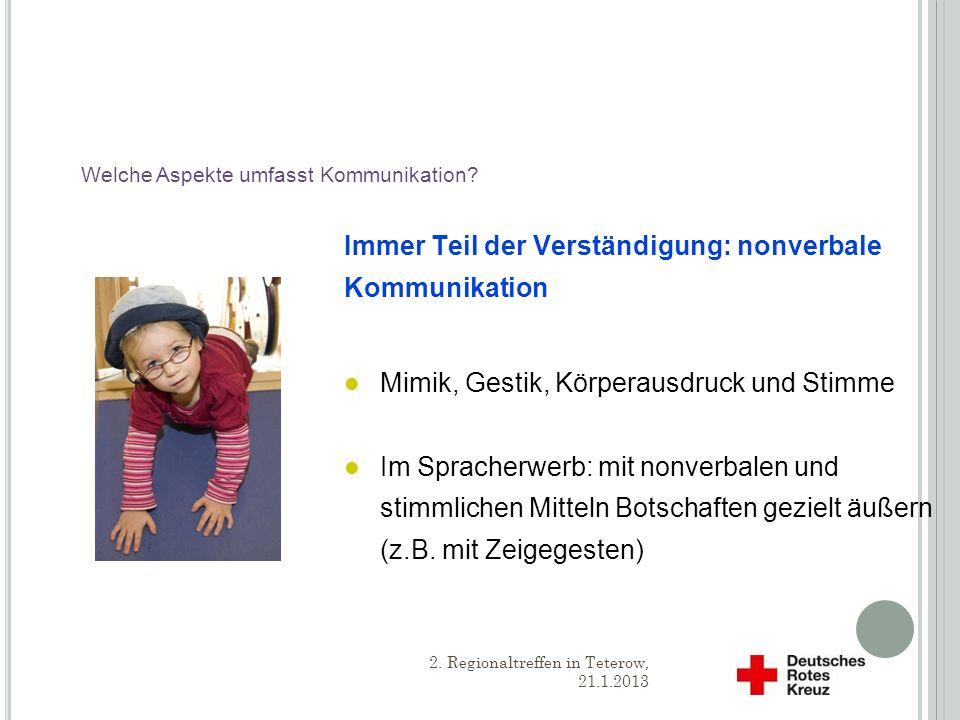 N ONVERBALE K OMMUNIKATION Orientierungshilfe & Wichtiges Ausdrucksmittel 2.