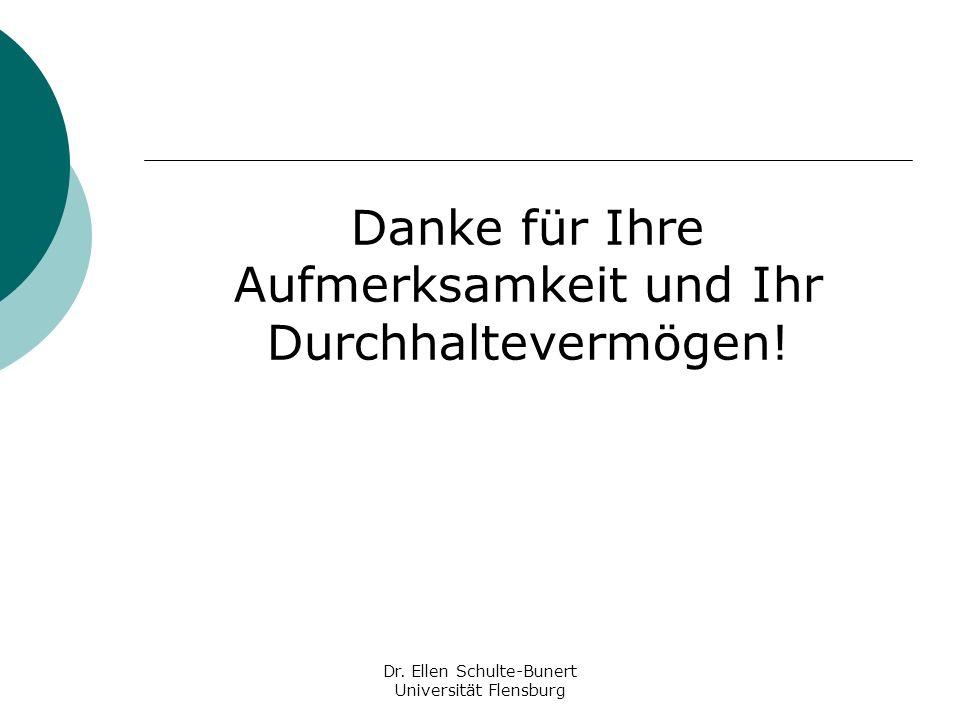 Danke für Ihre Aufmerksamkeit und Ihr Durchhaltevermögen! Dr. Ellen Schulte-Bunert Universität Flensburg