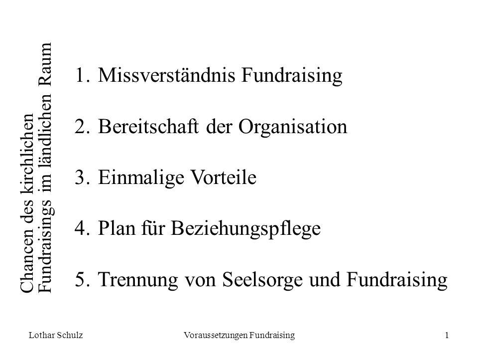 Lothar SchulzVoraussetzungen Fundraising1 Chancen des kirchlichen Fundraisings im ländlichen Raum 1.