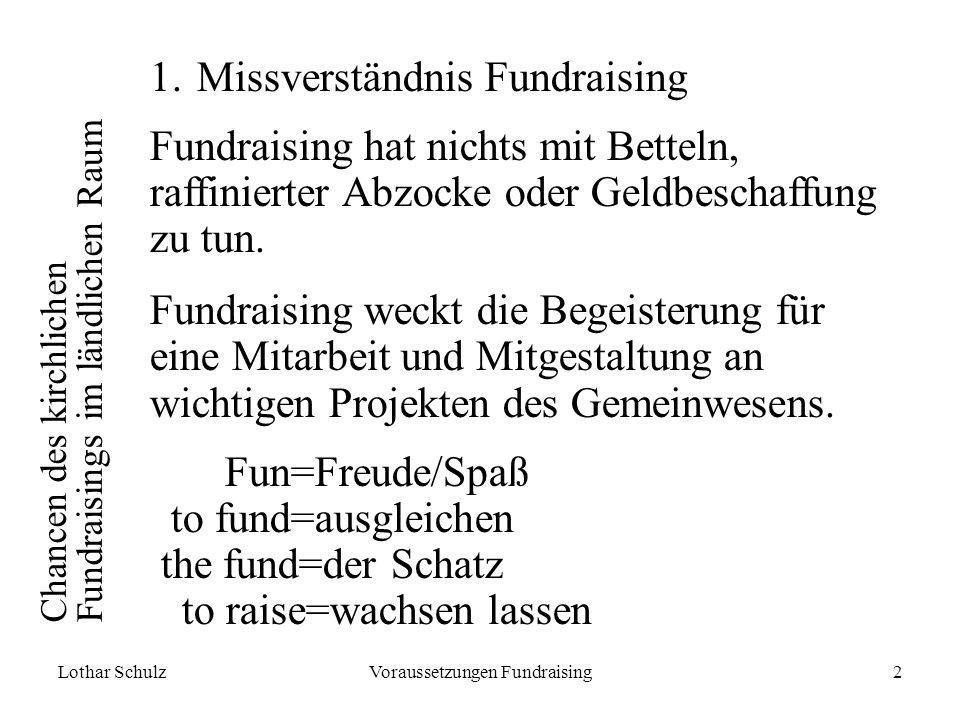 Lothar SchulzVoraussetzungen Fundraising2 Chancen des kirchlichen Fundraisings im ländlichen Raum 1.