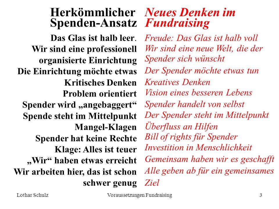 Lothar SchulzVoraussetzungen Fundraising3 Herkömmlicher Spenden-Ansatz Das Glas ist halb leer.