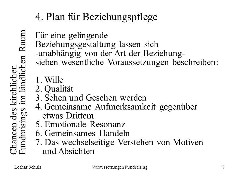 Lothar SchulzVoraussetzungen Fundraising7 Chancen des kirchlichen Fundraisings im ländlichen Raum 4.