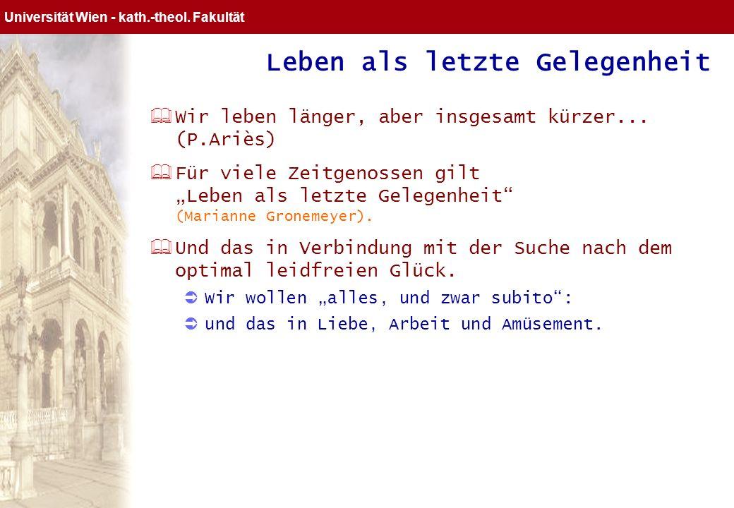 Universität Wien Gemeindeentwicklung Die gott-lose Lebensgestalt