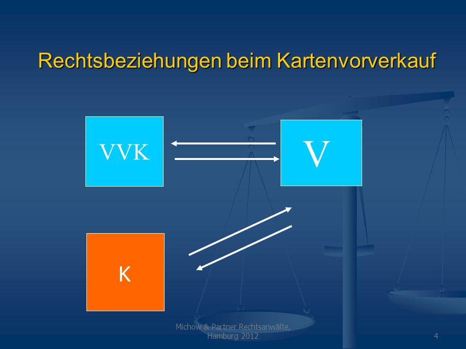 Michow & Partner Rechtsanwälte, Hamburg 20124 Rechtsbeziehungen beim Kartenvorverkauf VVK V K