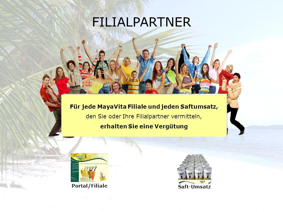 Saft-Umsatz Portal/Filiale Für jede MayaVita Filiale und jeden Saftumsatz, den Sie oder Ihre Filialpartner vermitteln, erhalten Sie eine Vergütung FIL