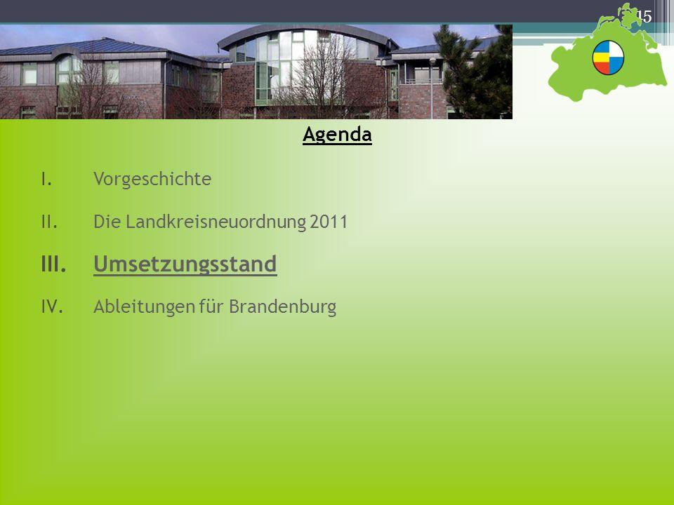 15 Agenda I.Vorgeschichte II.Die Landkreisneuordnung 2011 III.Umsetzungsstand IV.Ableitungen für Brandenburg