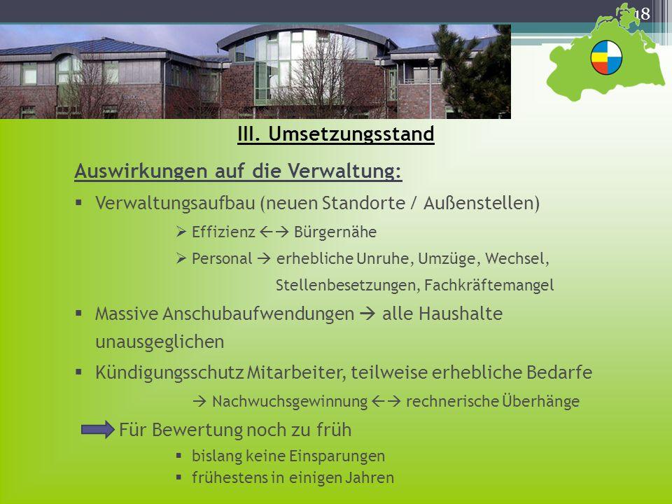 18 III. Umsetzungsstand Auswirkungen auf die Verwaltung: Verwaltungsaufbau (neuen Standorte / Außenstellen) Effizienz Bürgernähe Personal erhebliche U