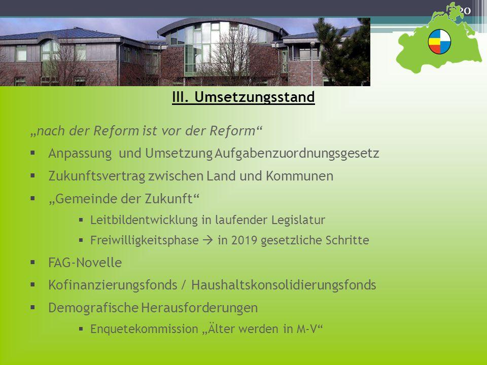 20 nach der Reform ist vor der Reform Anpassung und Umsetzung Aufgabenzuordnungsgesetz Zukunftsvertrag zwischen Land und Kommunen Gemeinde der Zukunft