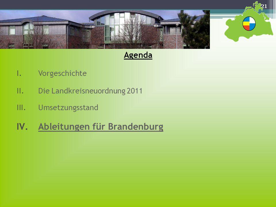 21 Agenda I.Vorgeschichte II.Die Landkreisneuordnung 2011 III.Umsetzungsstand IV.Ableitungen für Brandenburg