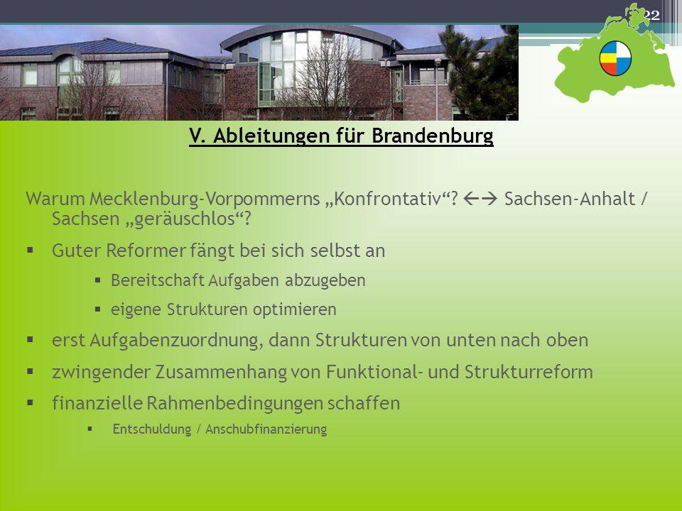 22 Warum Mecklenburg-Vorpommerns Konfrontativ? Sachsen-Anhalt / Sachsen geräuschlos? Guter Reformer fängt bei sich selbst an Bereitschaft Aufgaben abz
