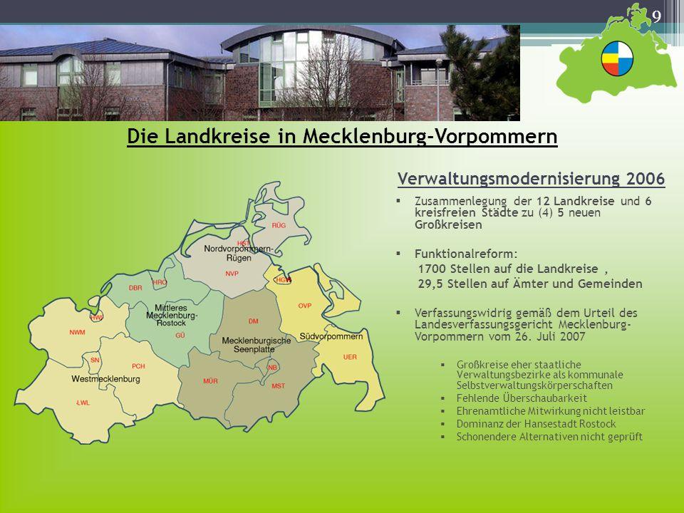9 Die Landkreise in Mecklenburg-Vorpommern Zusammenlegung der 12 Landkreise und 6 kreisfreien Städte zu (4) 5 neuen Großkreisen Funktionalreform: 1700
