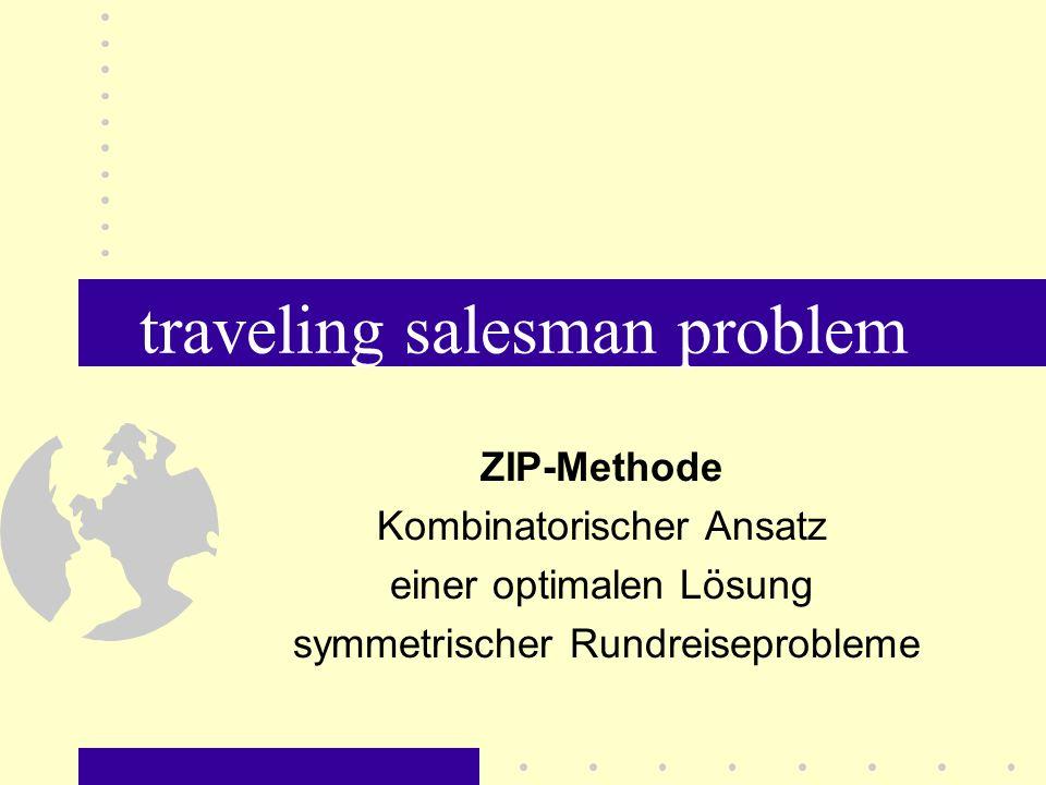 traveling salesman problem Ziel: –Vorstellung eines kombinatorischen Lösungsansatzes des Rundreiseproblems Voraussetzungen: –Kenntnisse der vier Grundrechenarten –etwas Geduld mit dem Vortragenden....