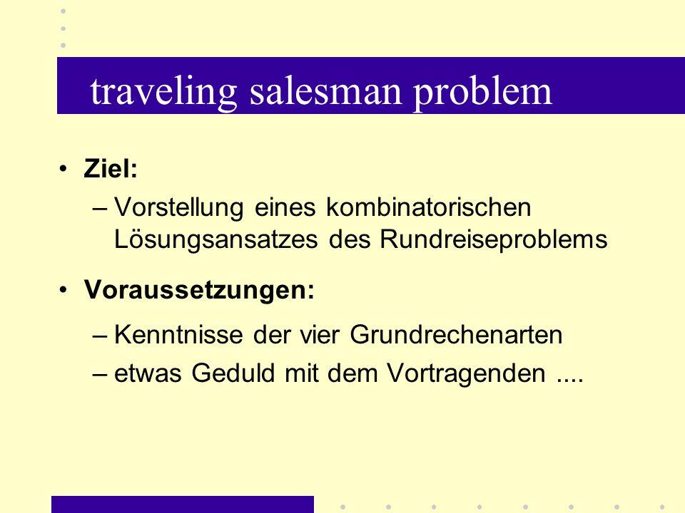 traveling salesman problem Anlass: Fachschullehrbuch: Mathematik für Wirtschaftswissenschaften Verlag die Wirtschaft, Berlin (DDR), 1983 - darin: Rundreiseproblem S.