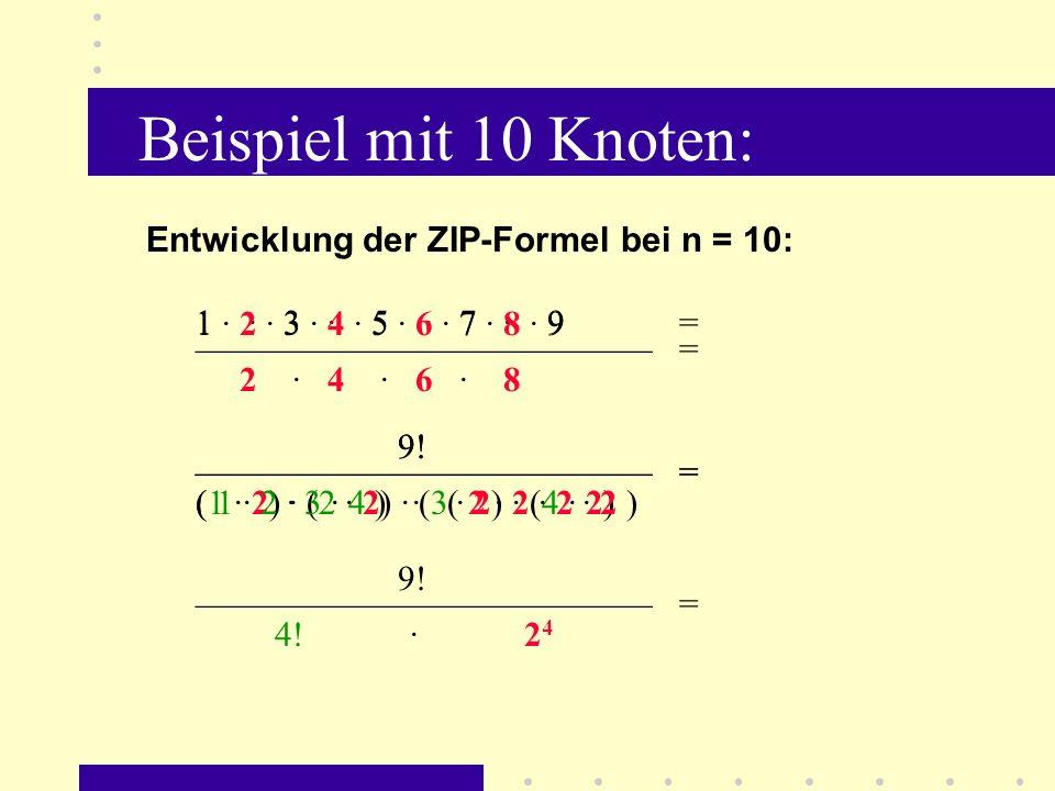 Beispiel mit 10 Knoten: (n – 1).( n/2 – 1 ) . · 2 n/2 - 1 davon: { ( n/2 – 1 ) .