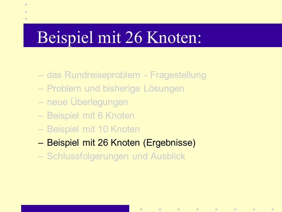 Beispiel mit 26 Knoten: Weihnachtsrätsel: Das Institut für Rechnergestützte Wissenverarbeitung (KBS) der Universität Hannover hat 1996 als Weihnachtsrätsel die Aufgabe gestellt, für 26 europäische Hauptstädte die kürzeste Rundreise zu finden.
