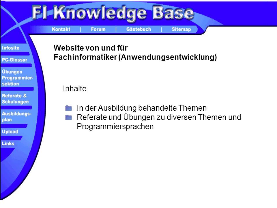 Website von und für Fachinformatiker (Anwendungsentwicklung) In der Ausbildung behandelte Themen Referate und Übungen zu diversen Themen und Programmi