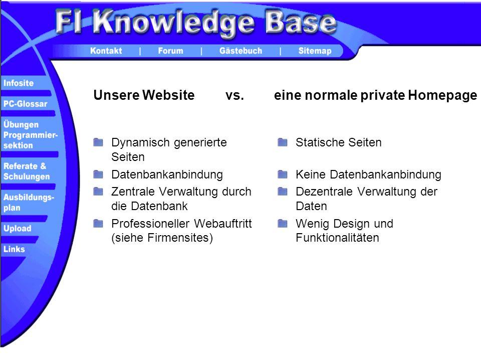 Unsere Website Dynamisch generierte Seiten Datenbankanbindung Zentrale Verwaltung durch die Datenbank Professioneller Webauftritt (siehe Firmensites)