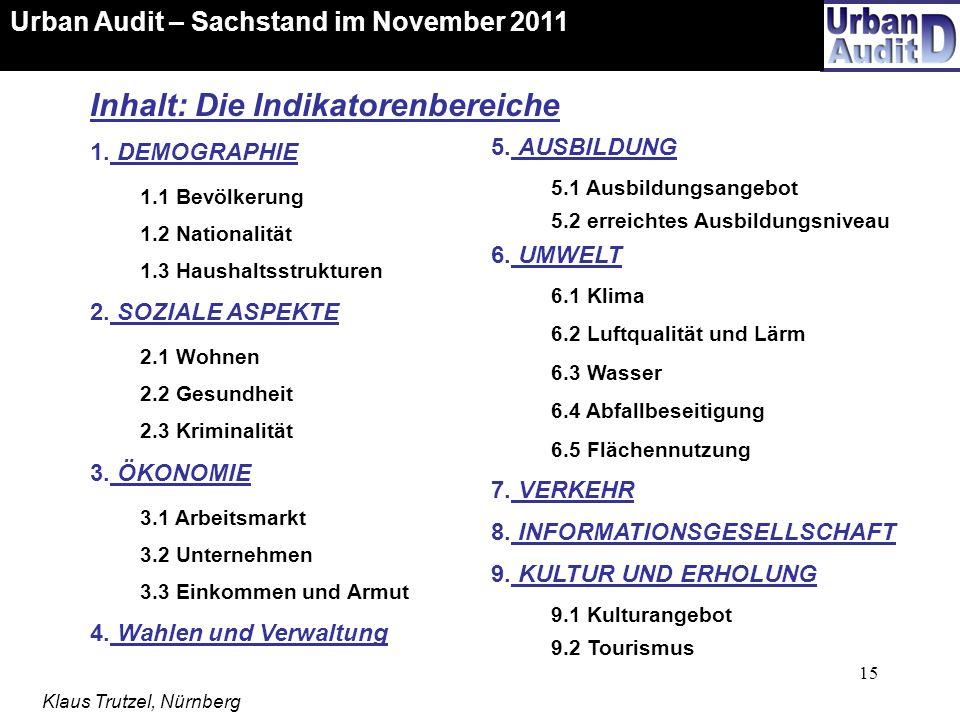 15 Urban Audit – Sachstand im November 2011 Klaus Trutzel, Nürnberg Inhalt: Die Indikatorenbereiche 1. DEMOGRAPHIE 1.1 Bevölkerung 1.2 Nationalität 1.