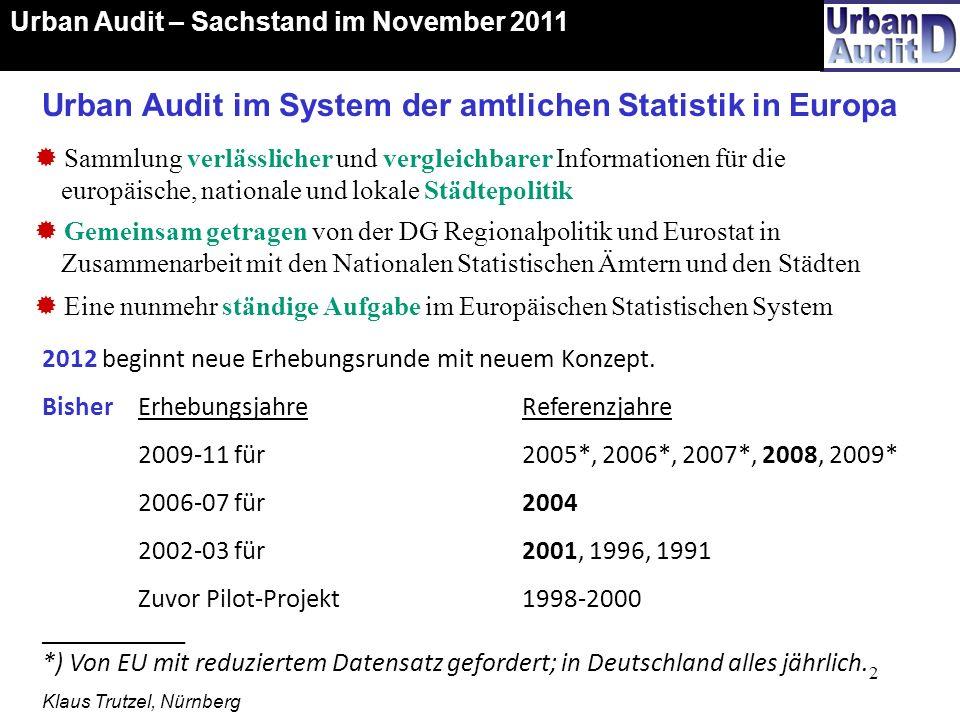 13 Urban Audit – Sachstand im November 2011 Karte: BBSR Nov. 2011