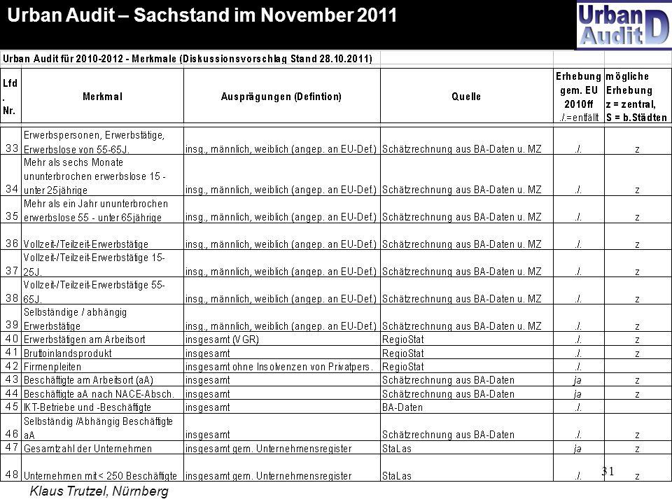 31 Urban Audit – Sachstand im November 2011 Klaus Trutzel, Nürnberg