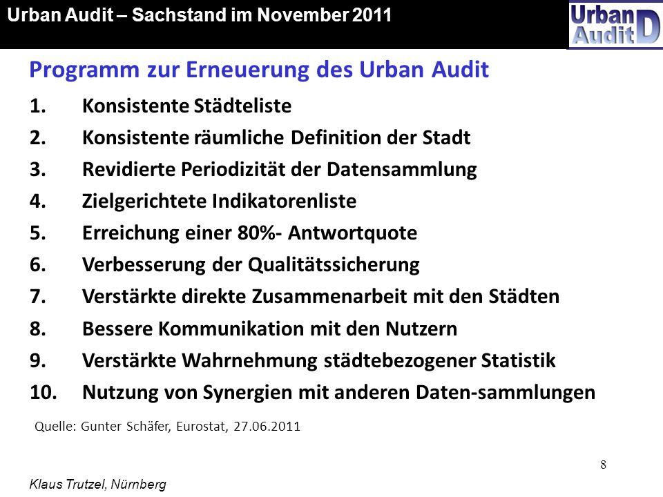 19 Urban Audit-Ergebnisse auf der künftigen Website der KOSIS-Gemeinschaft Urban Audit – Sachstand im November 2011 Klaus Trutzel, Nürnberg