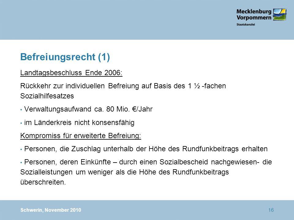 Befreiungsrecht (1) Landtagsbeschluss Ende 2006: Rückkehr zur individuellen Befreiung auf Basis des 1 ½ -fachen Sozialhilfesatzes Verwaltungsaufwand c