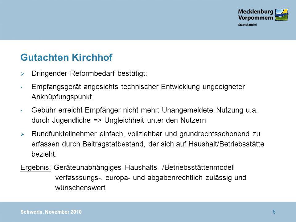 Gutachten Kirchhof Dringender Reformbedarf bestätigt: Empfangsgerät angesichts technischer Entwicklung ungeeigneter Anknüpfungspunkt Gebühr erreicht Empfänger nicht mehr: Unangemeldete Nutzung u.a.