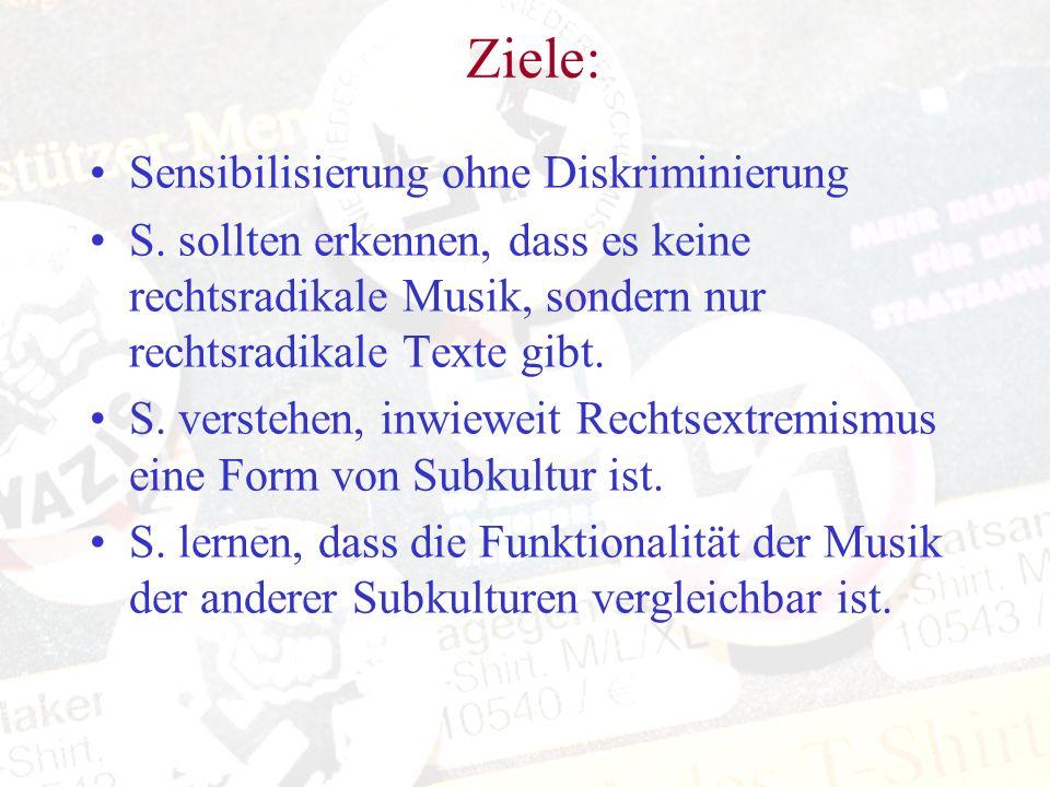 Ziele: Sensibilisierung ohne Diskriminierung S. sollten erkennen, dass es keine rechtsradikale Musik, sondern nur rechtsradikale Texte gibt. S. verste