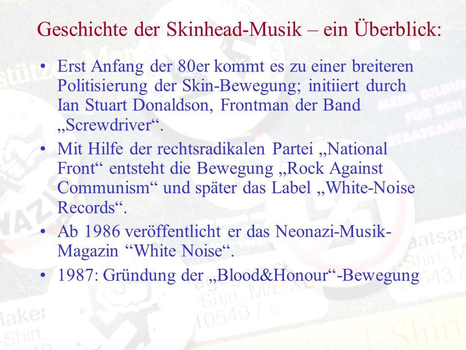 Geschichte der Skinhead-Musik – ein Überblick: Erst Anfang der 80er kommt es zu einer breiteren Politisierung der Skin-Bewegung; initiiert durch Ian S