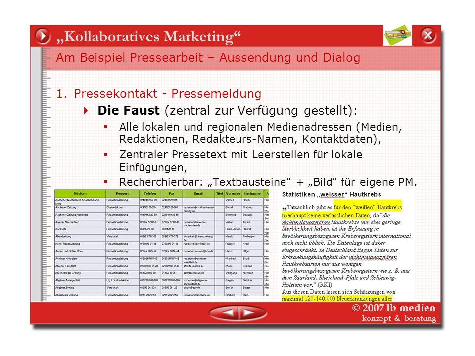 © 2007 lb medien konzept & beratung Kollaboratives Marketing Am Beispiel flexible Nutzung von News-Redaktion Was ist vorhanden? Tageaktuelle News (Web