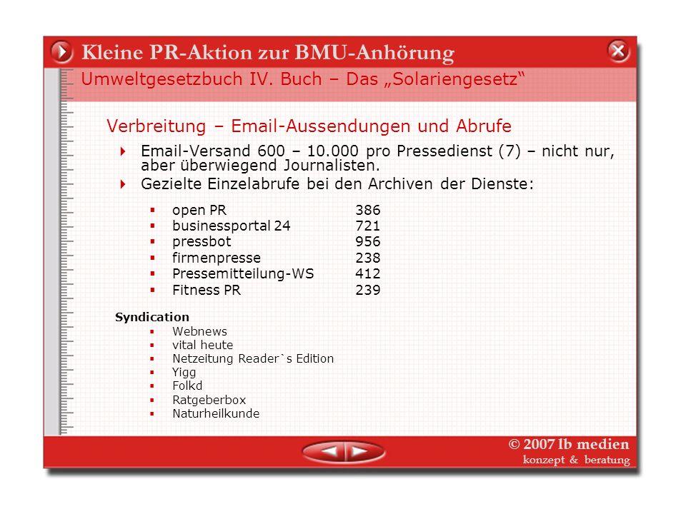 © 2007 lb medien konzept & beratung Kleine PR-Aktion zur BMU-Anhörung Umweltgesetzbuch IV. Buch – Das Solariengesetz Verbreitung – Medien-Verteiler Ve