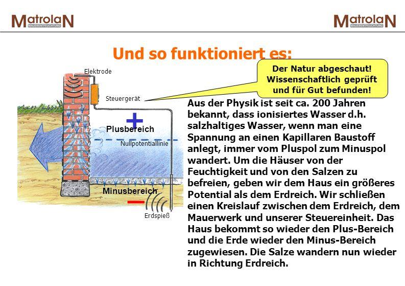Und so funktioniert es: Aus der Physik ist seit ca. 200 Jahren bekannt, dass ionisiertes Wasser d.h. salzhaltiges Wasser, wenn man eine Spannung an ei