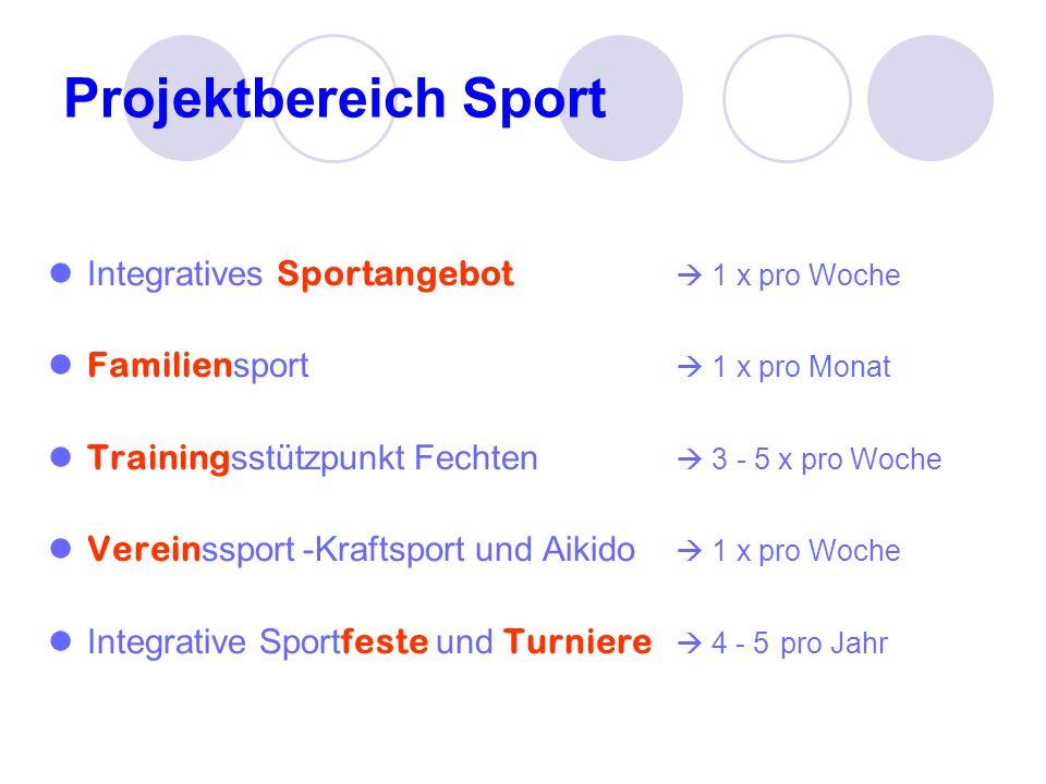 Projektbereich Sport Integratives Sportangebot 1 x pro Woche Familien sport 1 x pro Monat Training sstützpunkt Fechten 3 - 5 x pro Woche Verein ssport