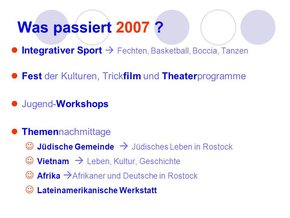 Was passiert 2007 ? Integrativer Sport Fechten, Basketball, Boccia, Tanzen Fest der Kulturen, Trickfilm und Theaterprogramme Jugend-Workshops Themenna